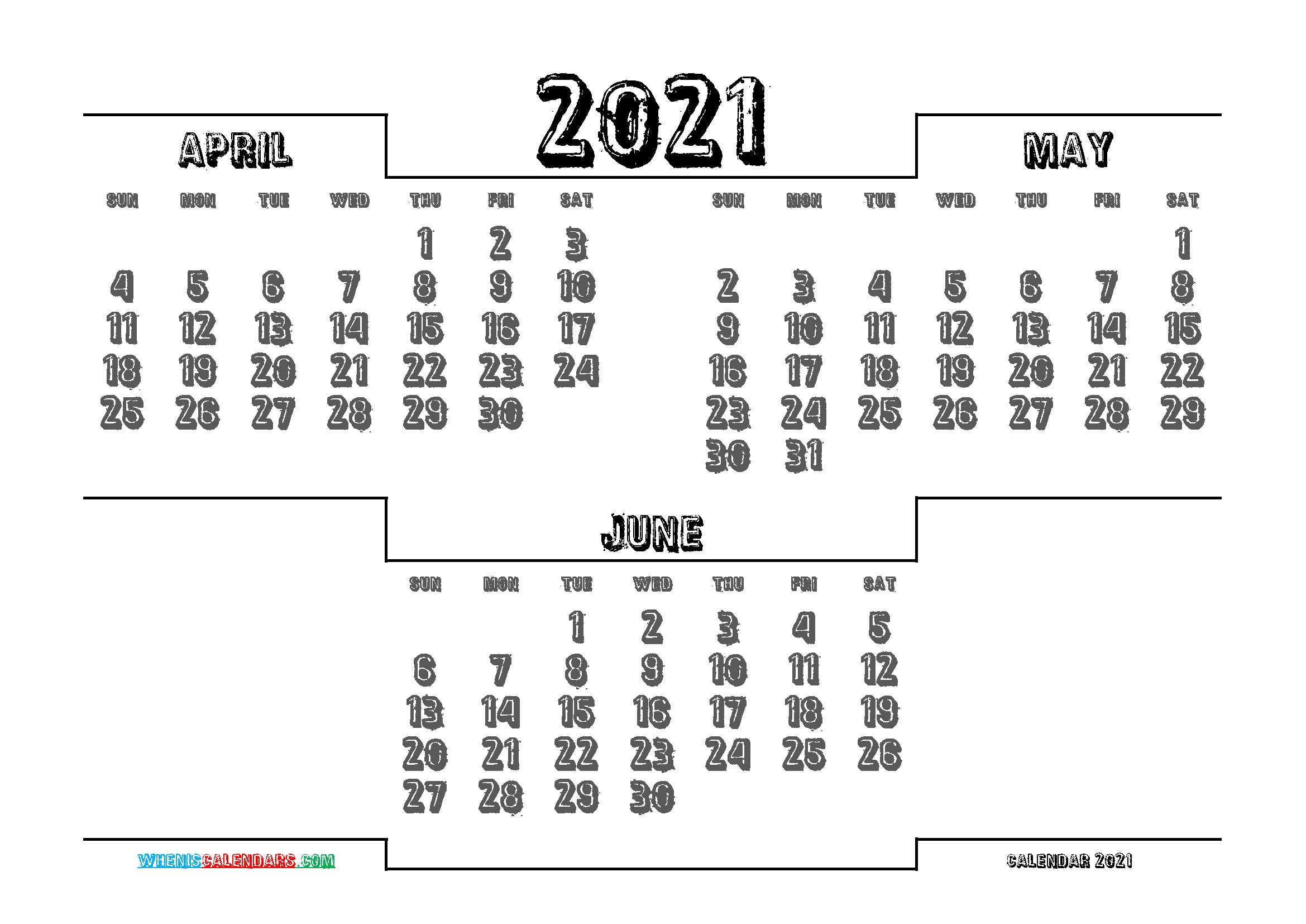 Free April May June 2021 Calendar Printable