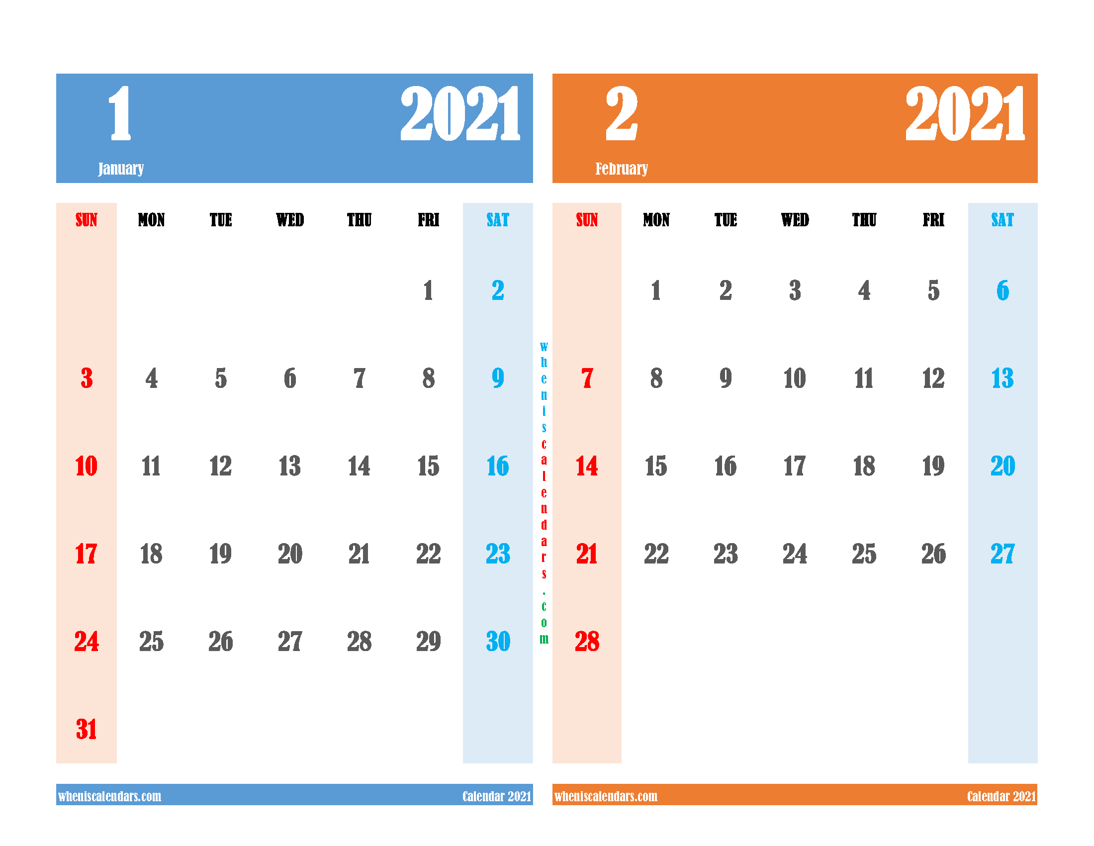 free printable january and february 2021 calendar two month on one page
