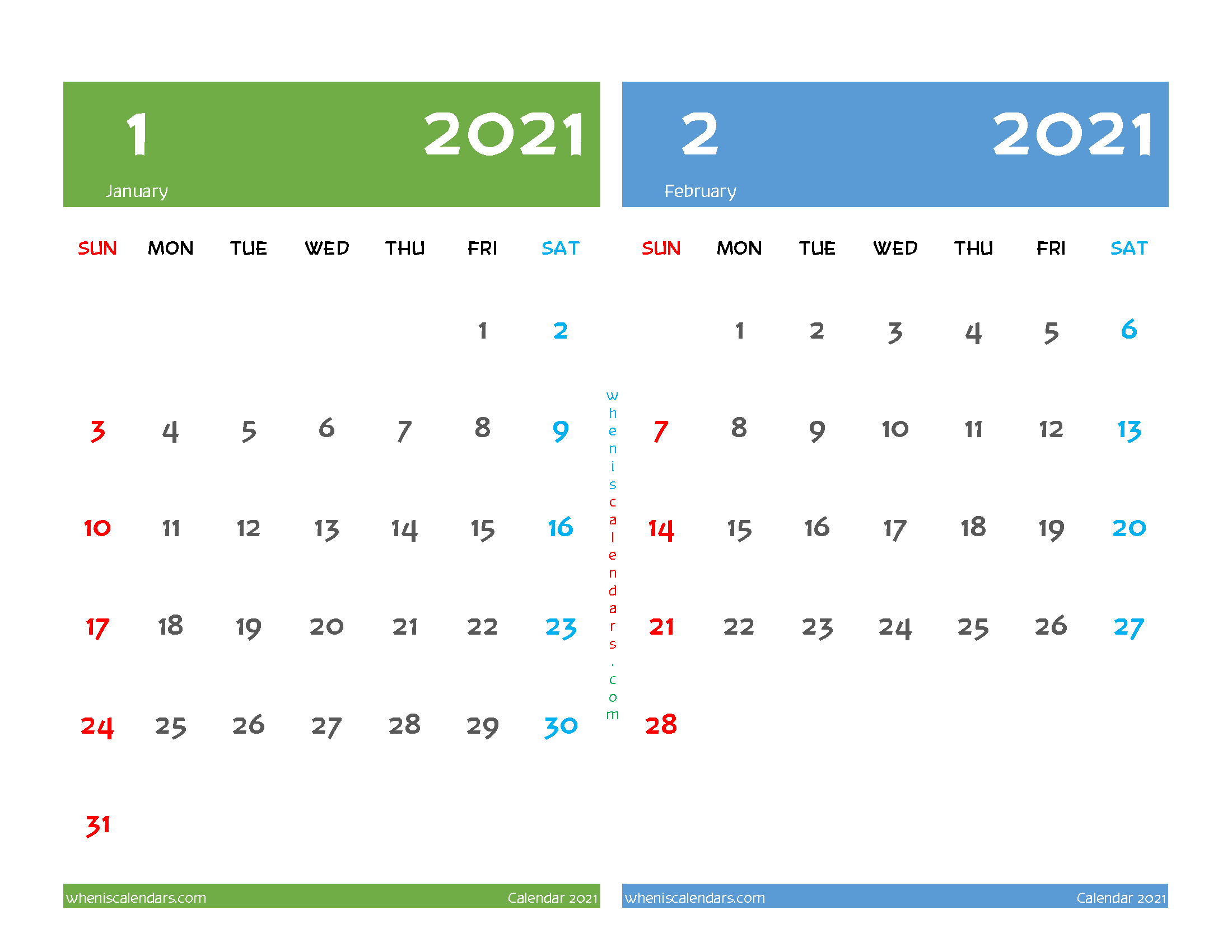 free printable january february 2021 calendar 2 month on one page