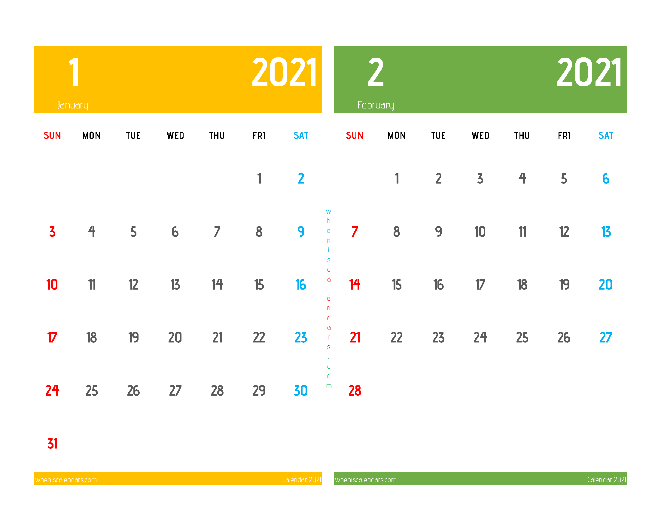 Calendar for January and February 2021