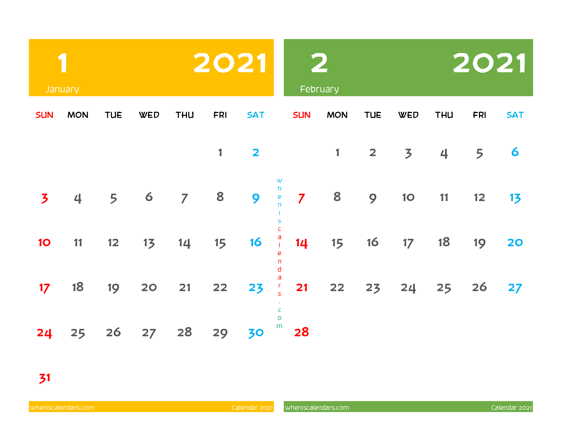 free printable january february 2021 calendar two month on one page