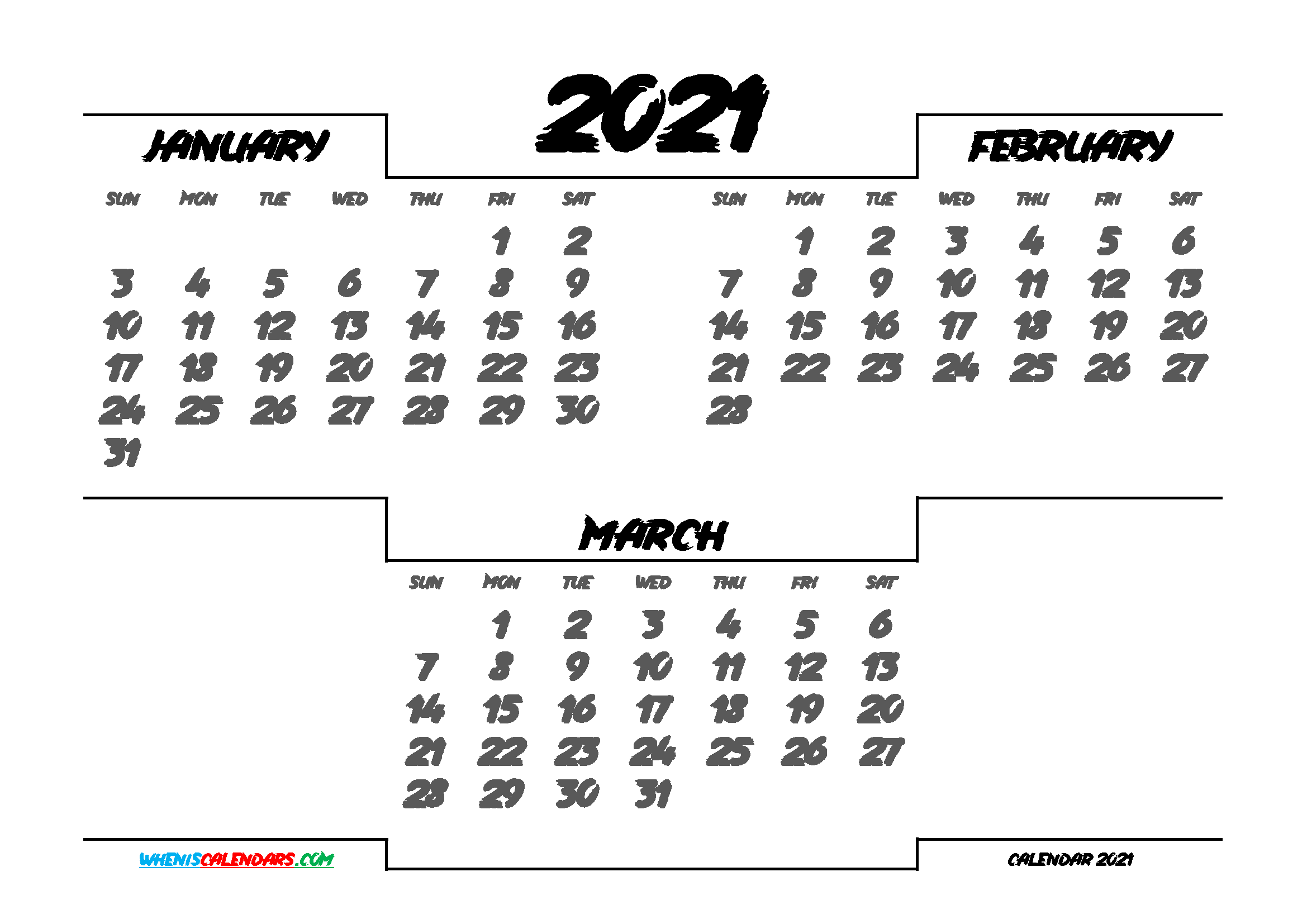 January February March 2021 Calendar printable 3 month calendar on one page