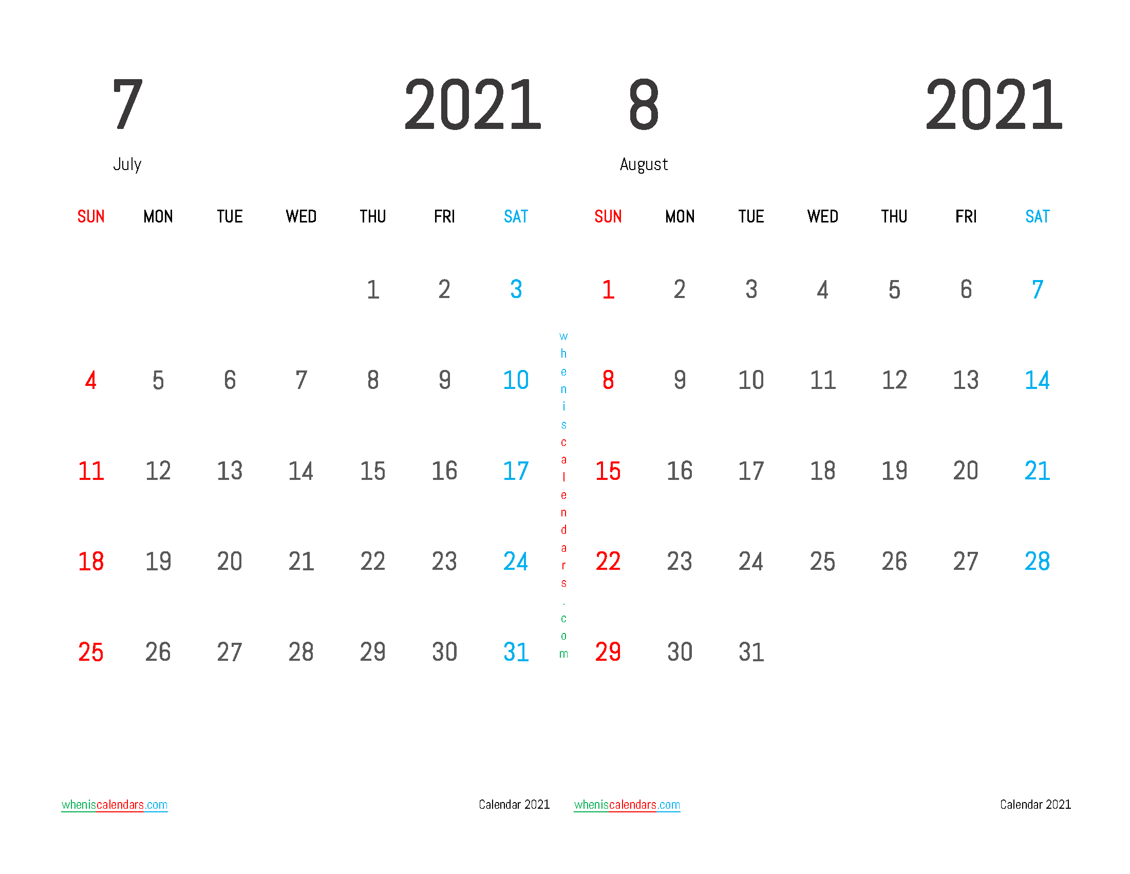 free printable july august 2021 calendar 2 month on one page