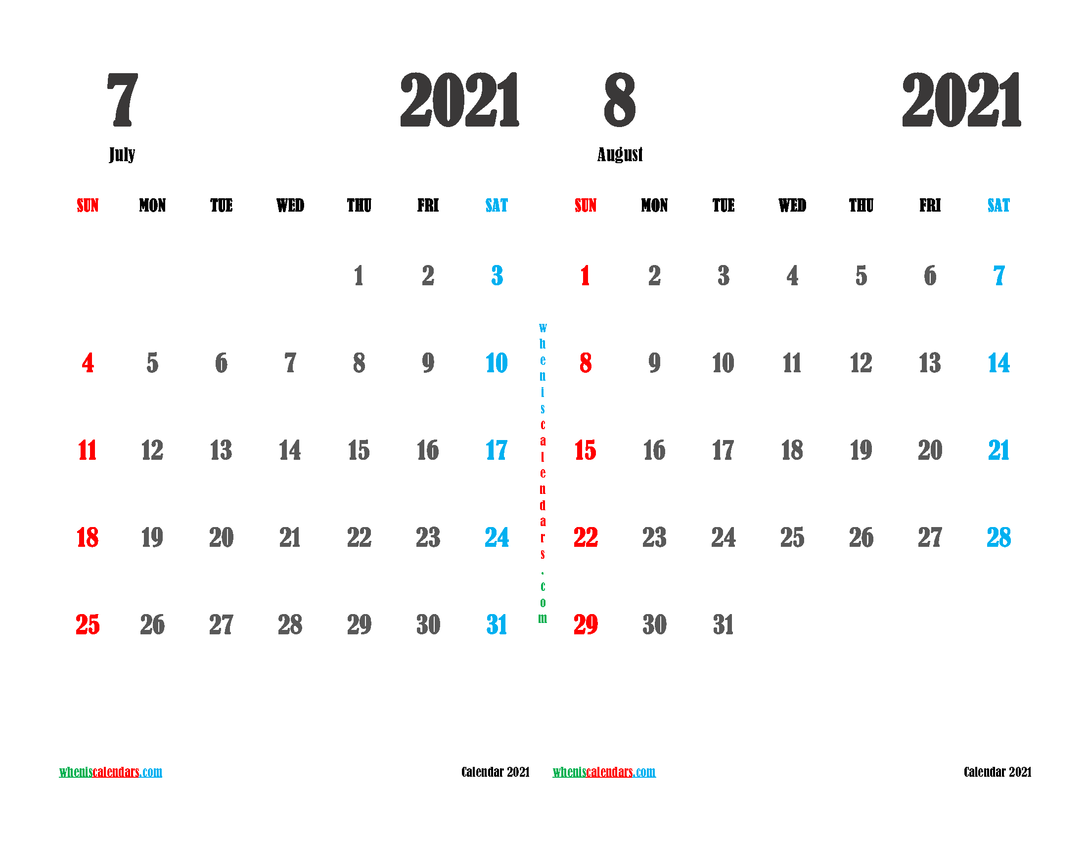 free printable july and august 2021 calendar two month on one page