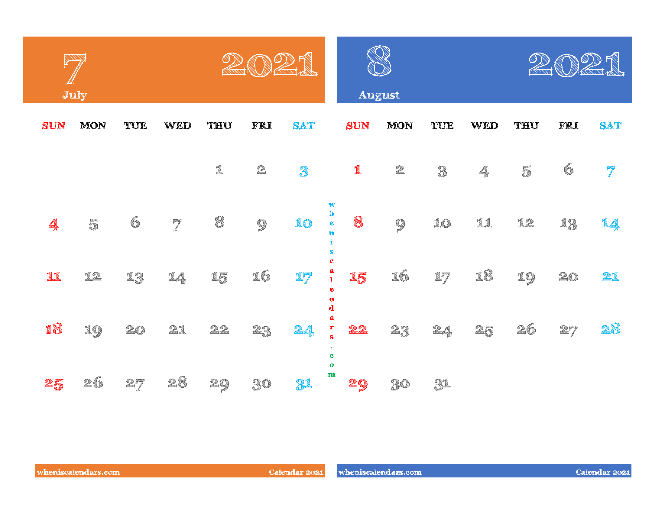 calendar for july and august 2021 printable 2 month on one page