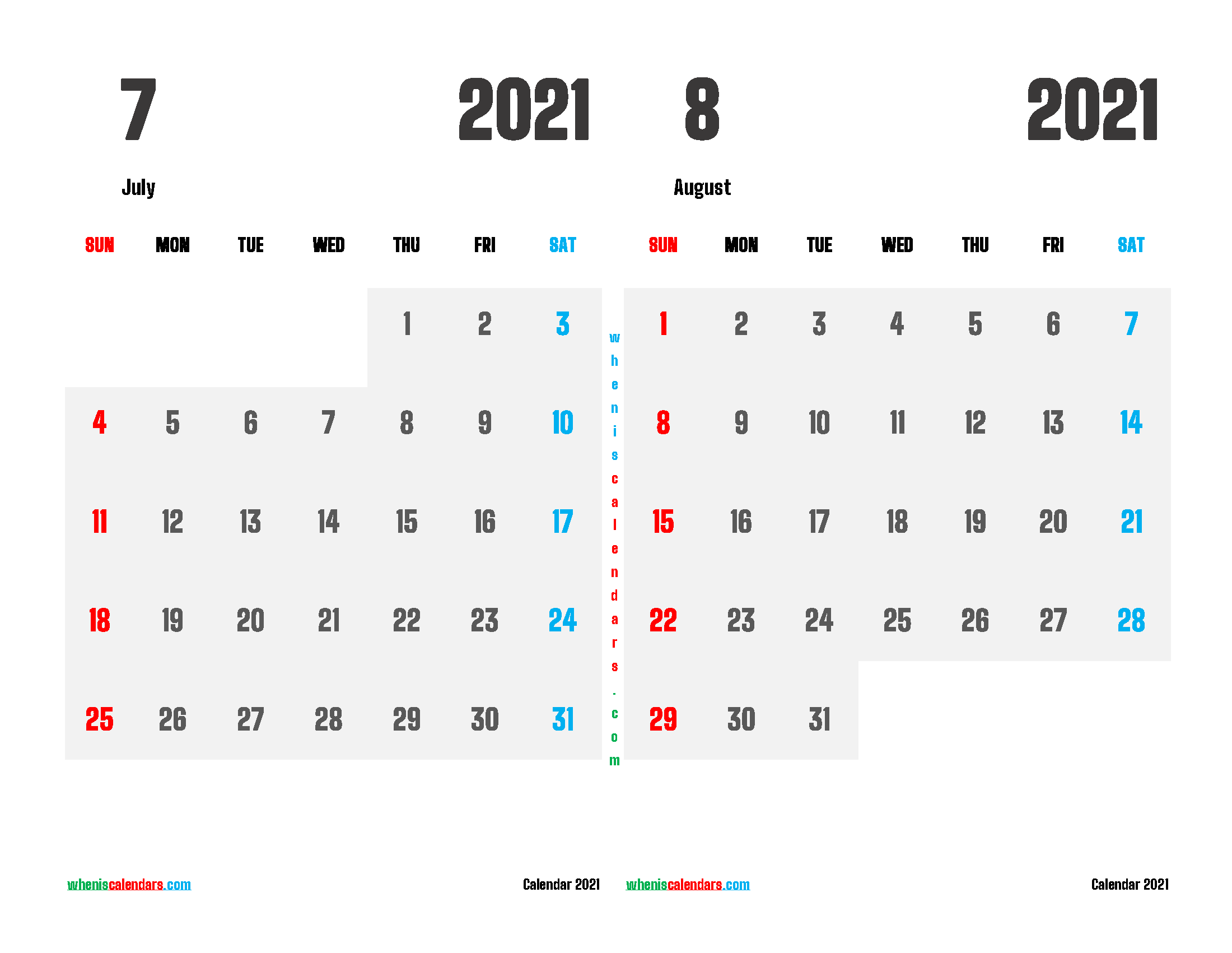 july and august 2021 calendar printable 2 month on one page
