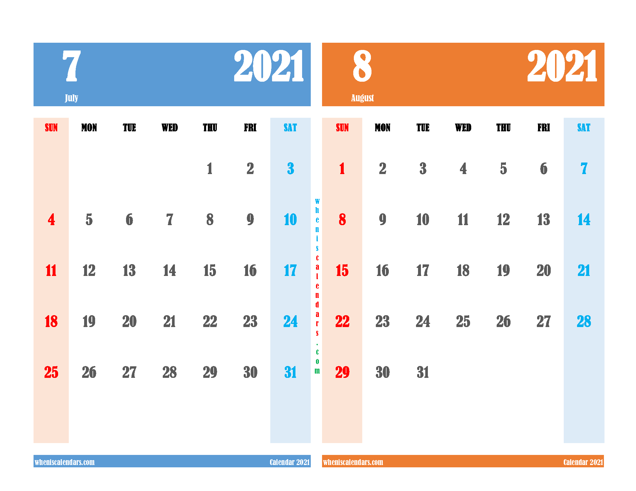 free printable july august 2021 calendar two month on one page