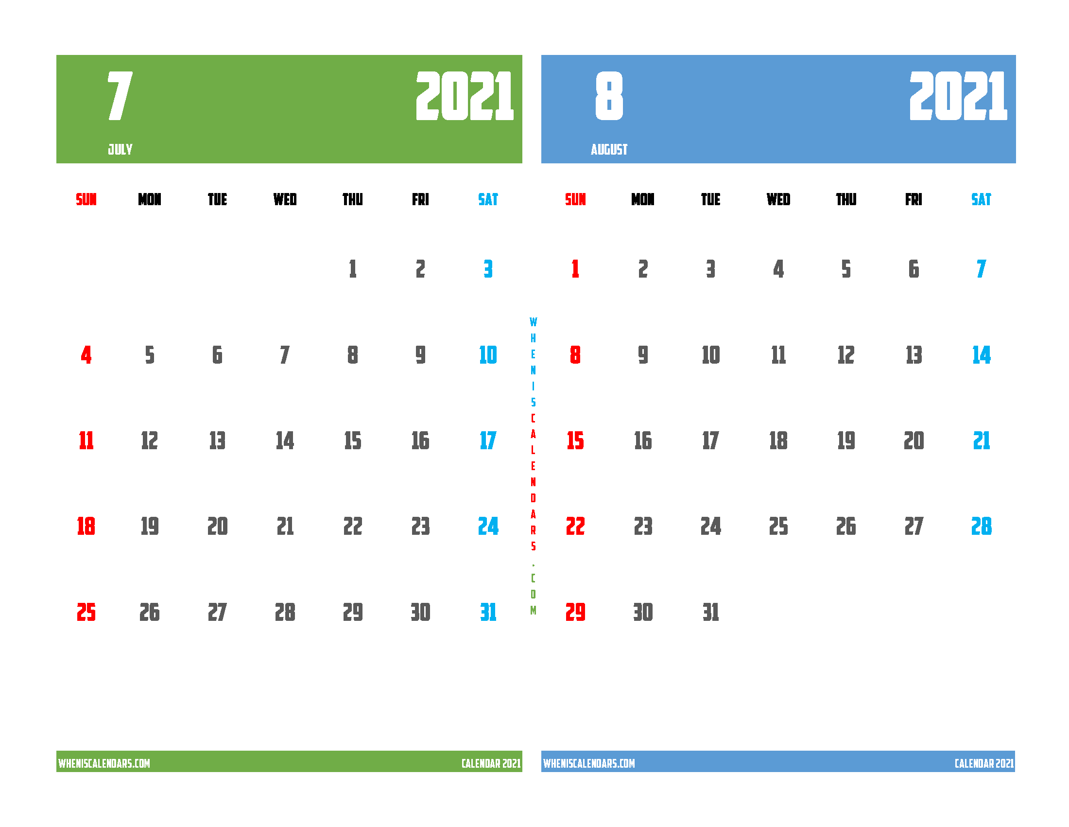 july august 2021 calendar printable 2 month on one page