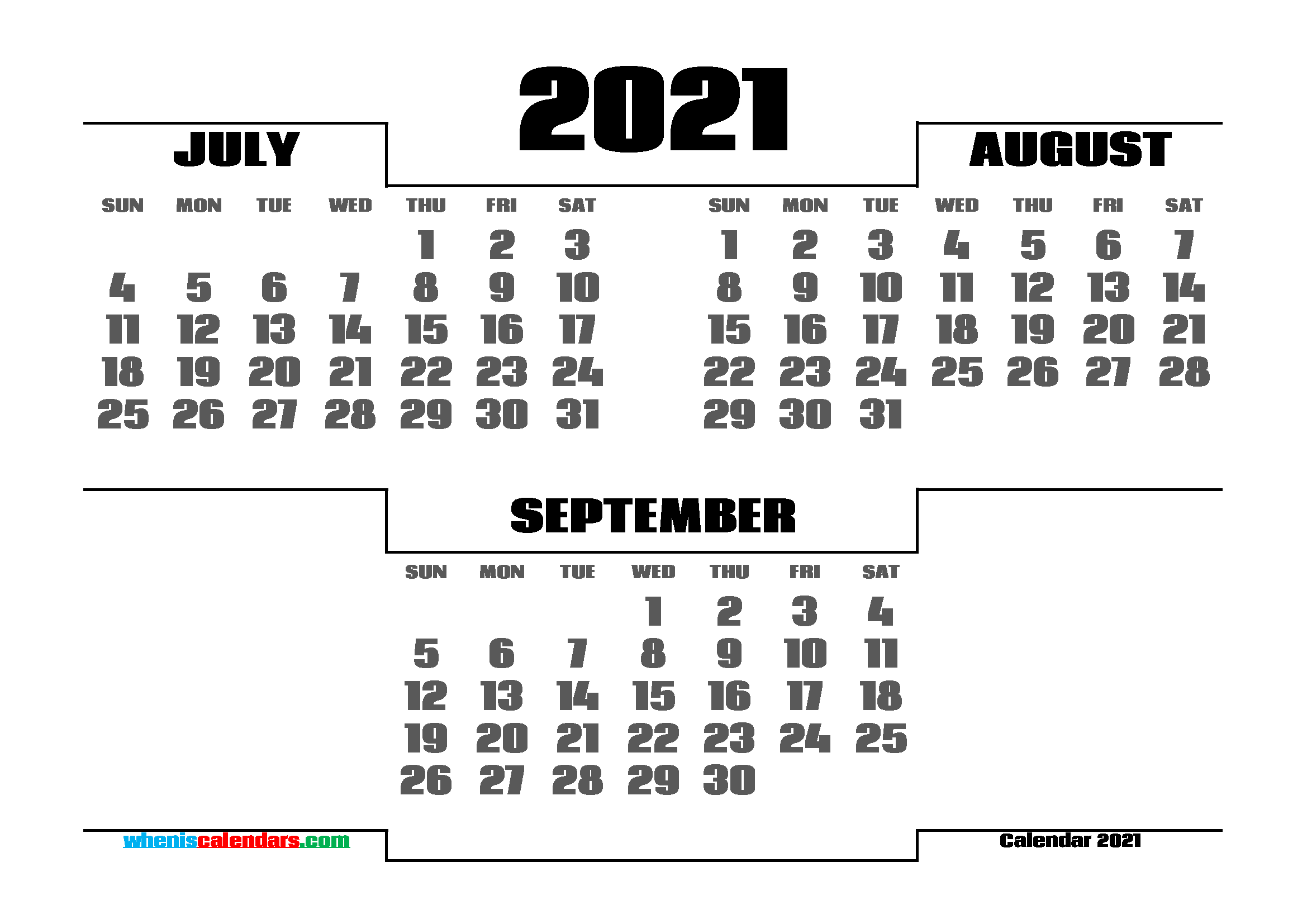 July August September 2021 Calendar printable 3 month calendar on one page