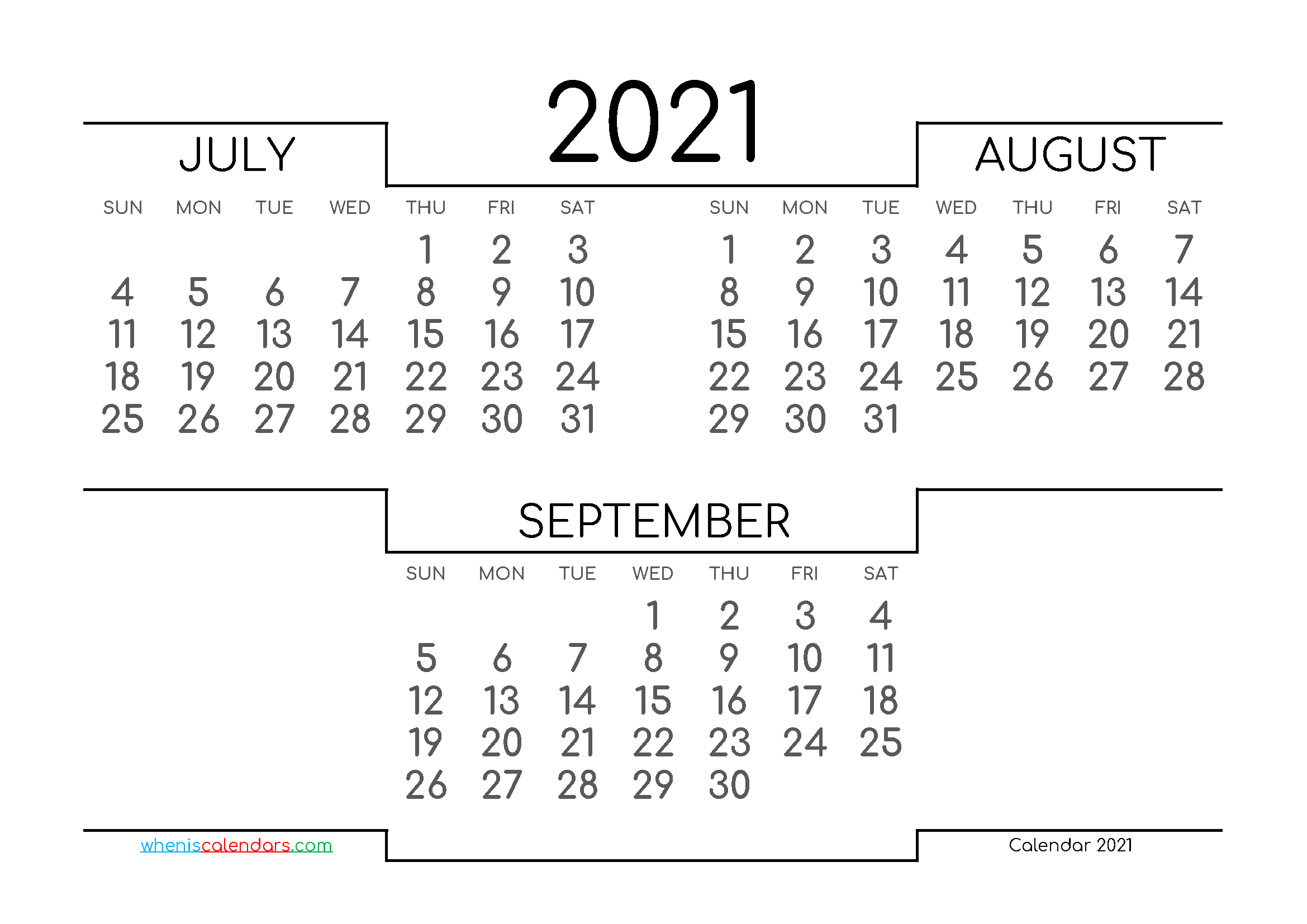 July August September 2021 Printable Calendar