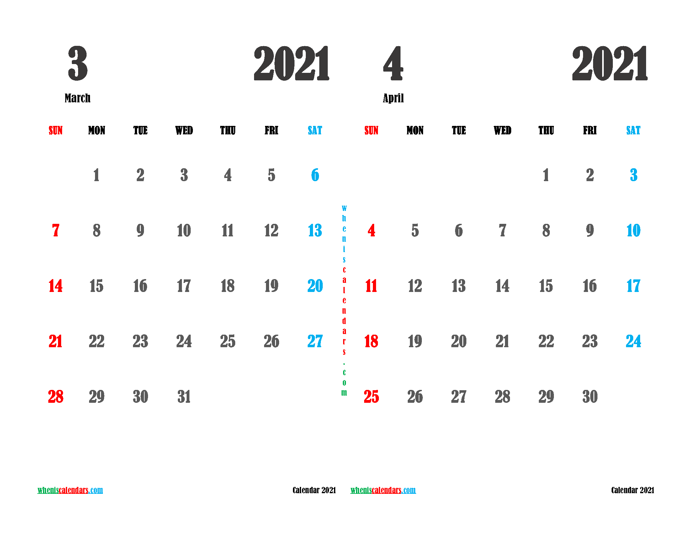 march and april 2021 calendar printable 2 month on one page