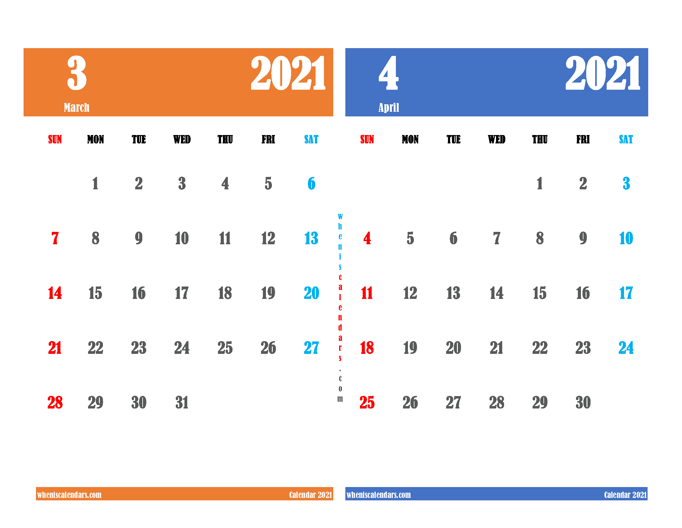 Calendar for March and April 2021