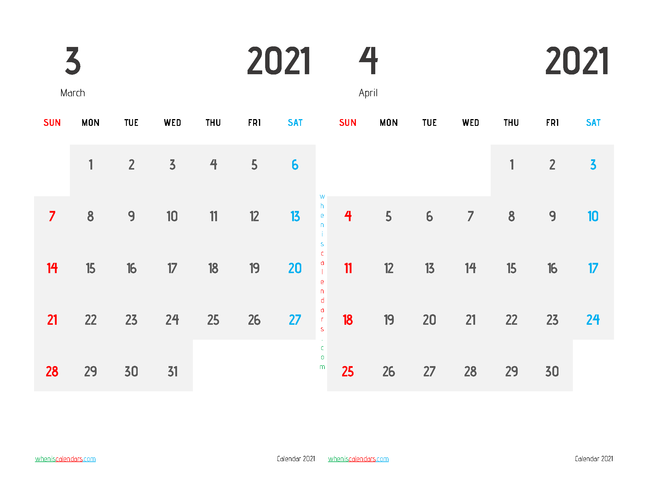 free printable march and april 2021 calendar two month on one page