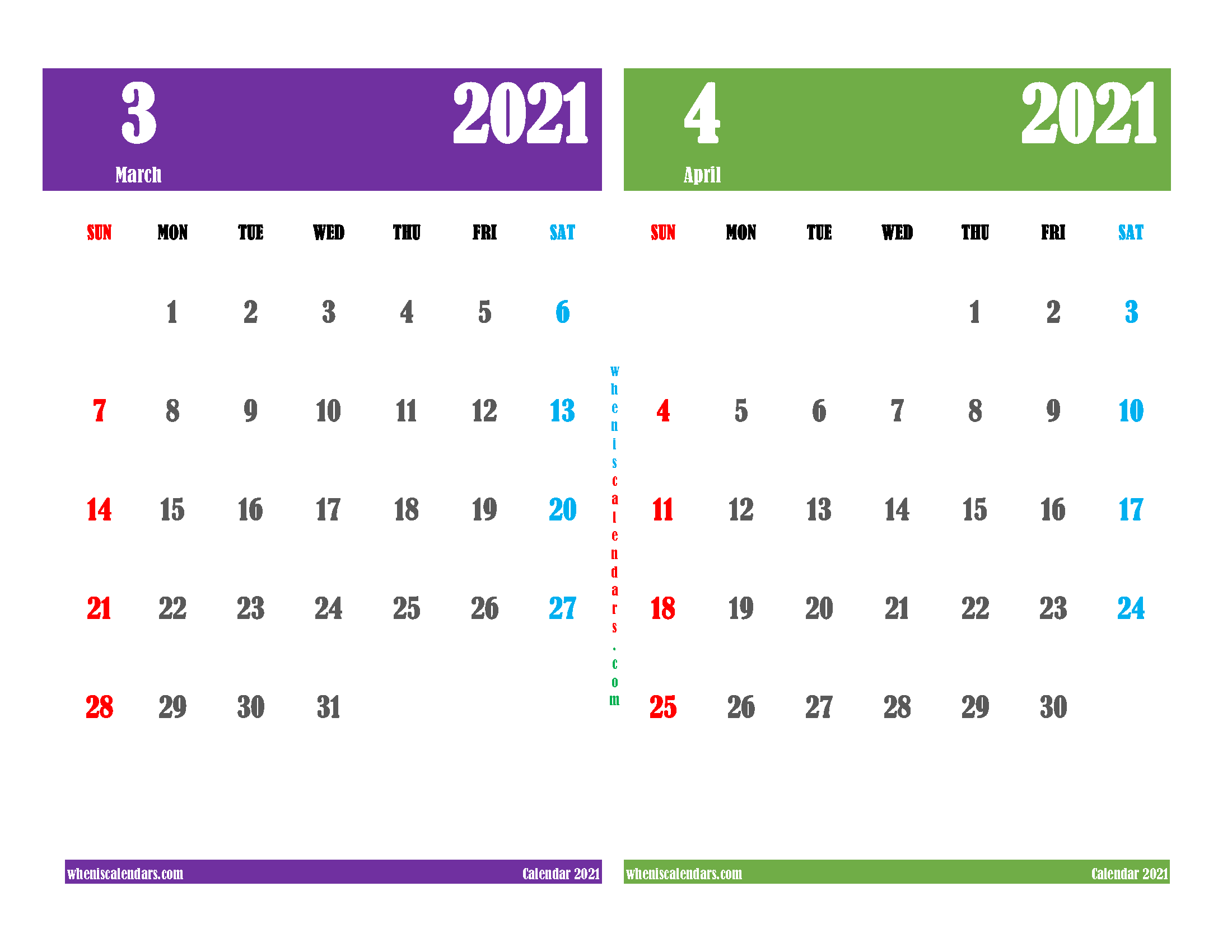 free printable march april 2021 calendar 2 month on one page