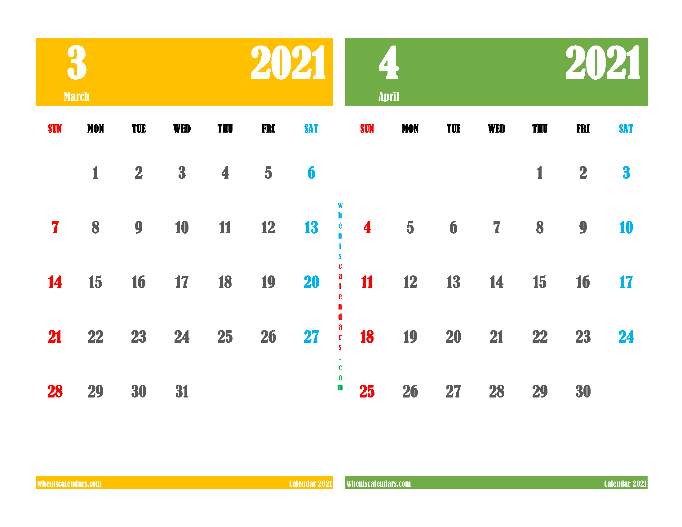free printable march april 2021 calendar two month on one page