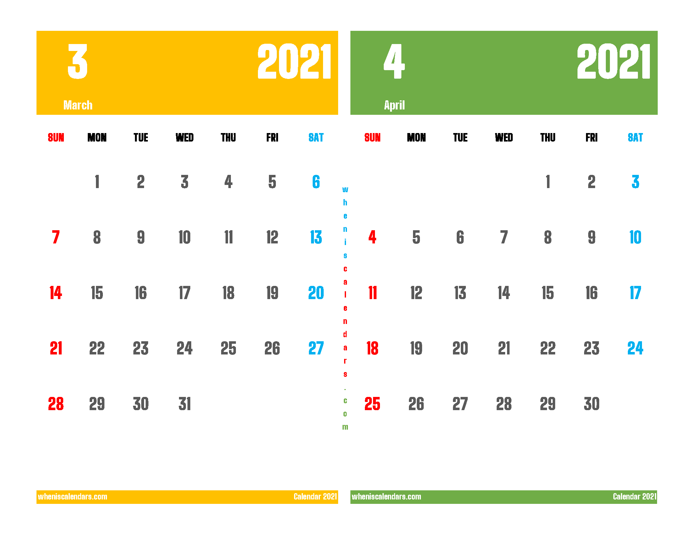 March and April 2021 Calendar Printable