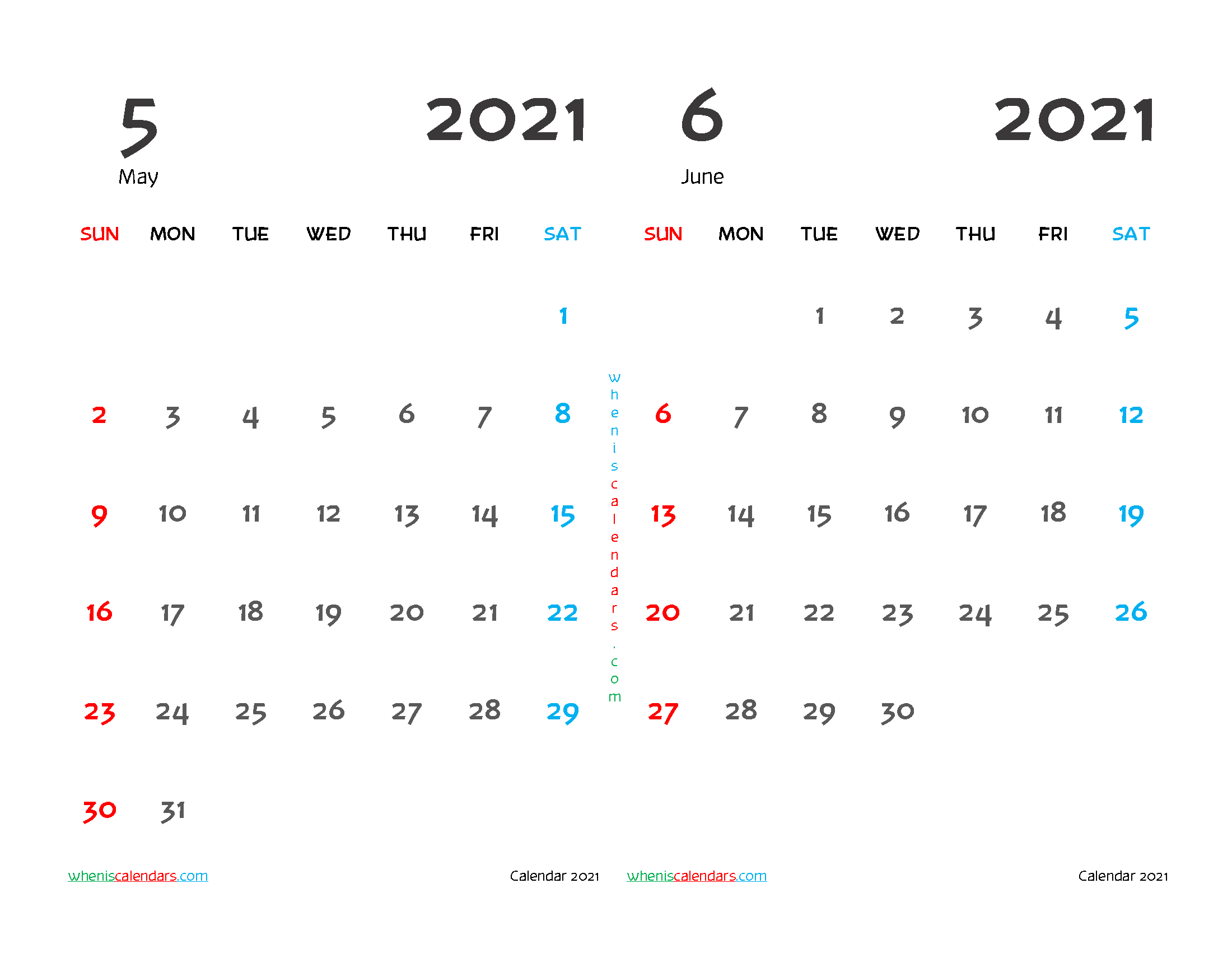 free printable may june 2021 calendar two month on one page