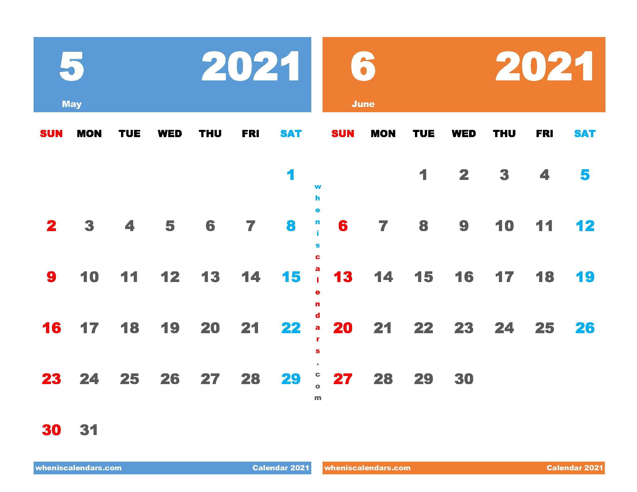 printable calendar for may and june 2021