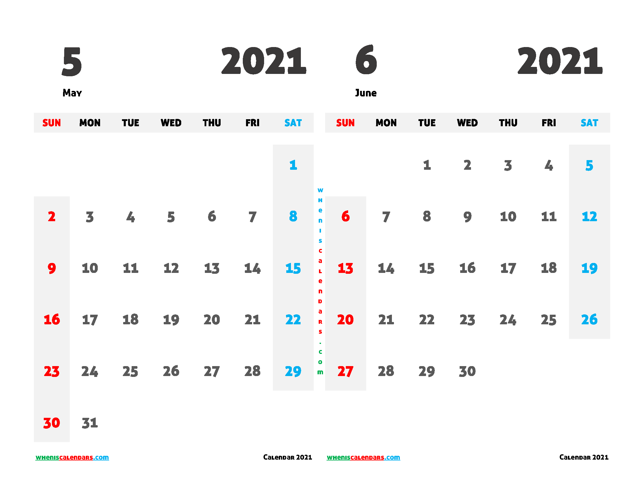 may june 2021 calendar printable 2 month on one page