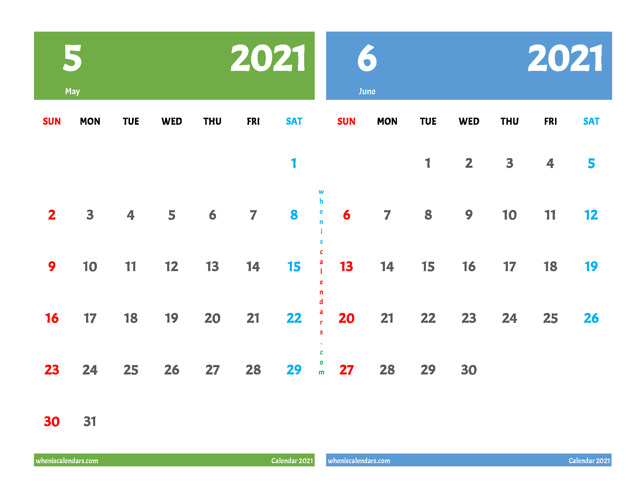 free printable may and june 2021 calendar two month on one page
