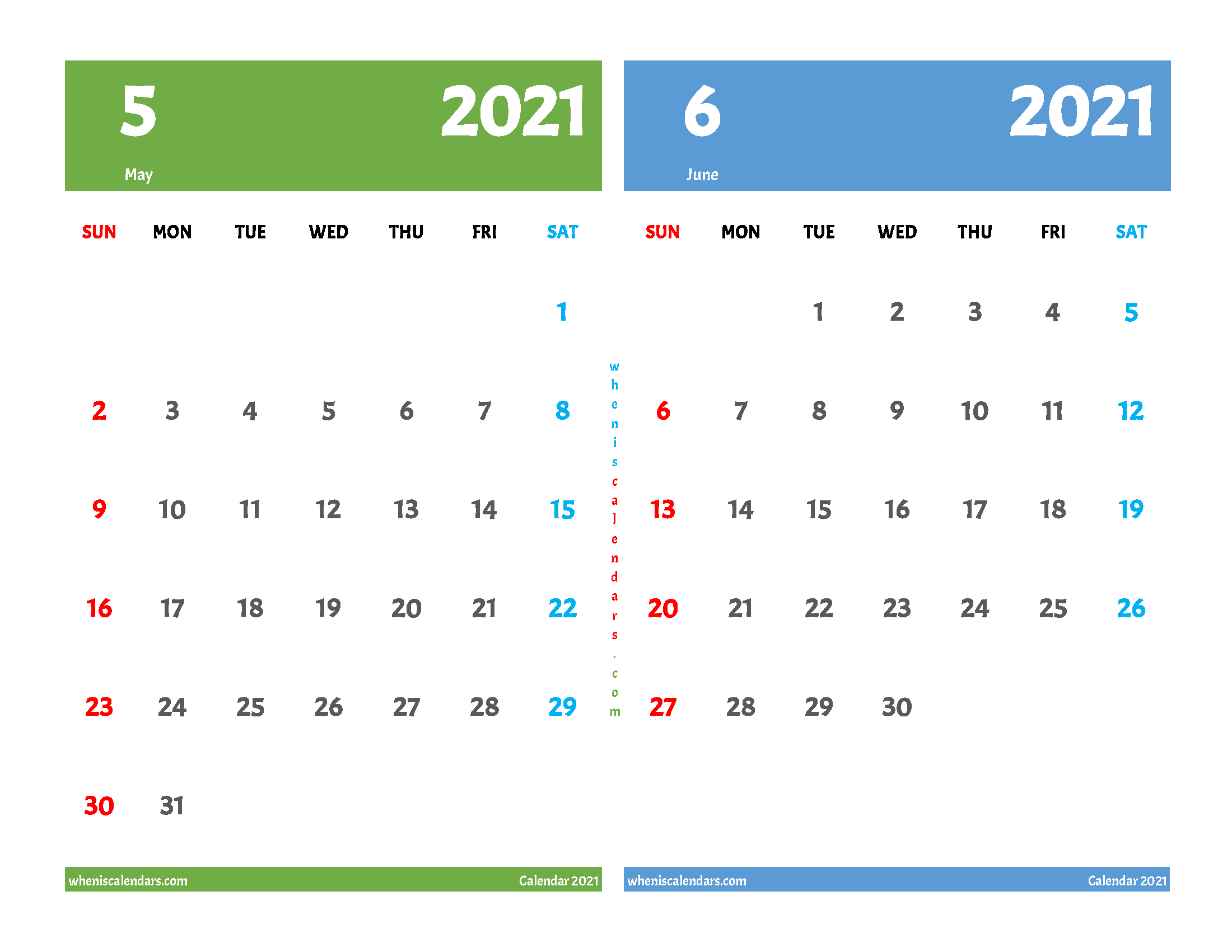 may and june 2021 calendar 2 month on one page