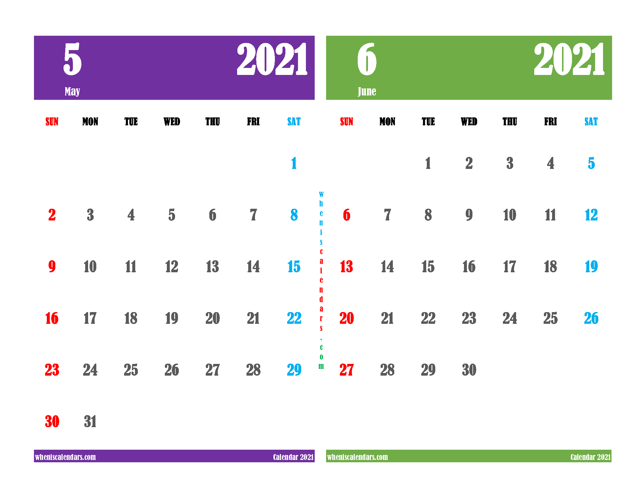 May and June 2021 Calendar Printable