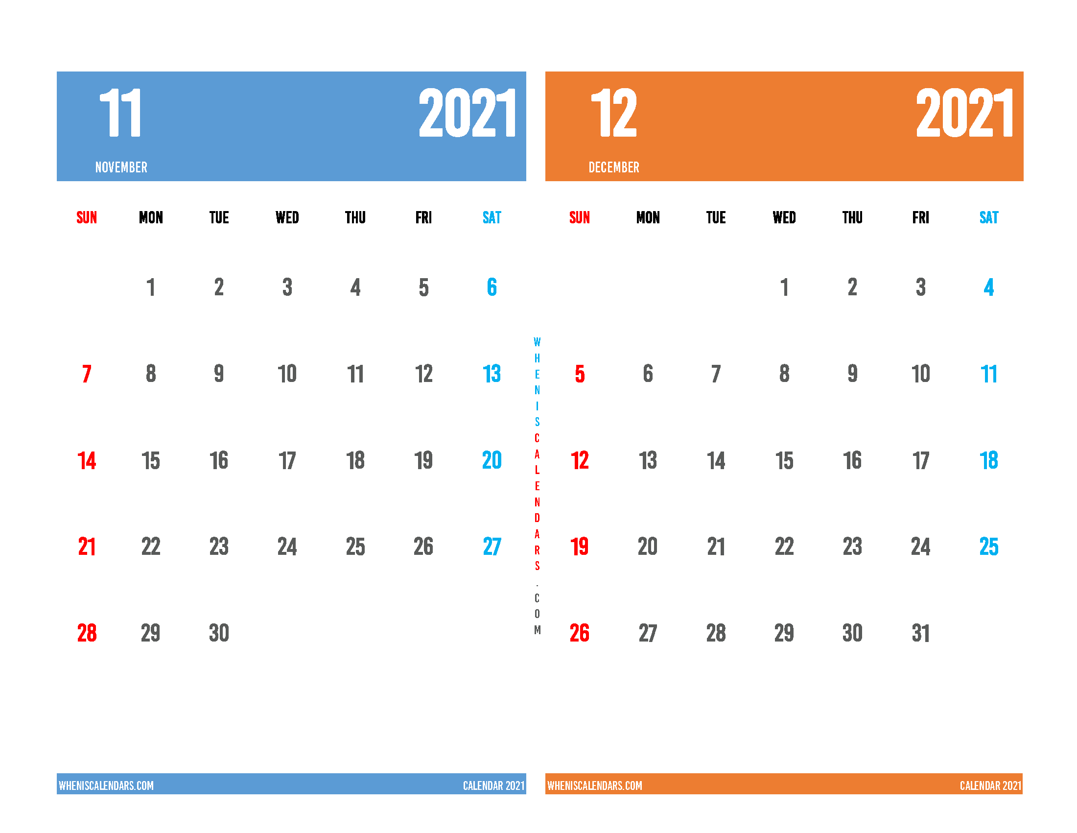 november and december 2021 calendar 2 month on one page