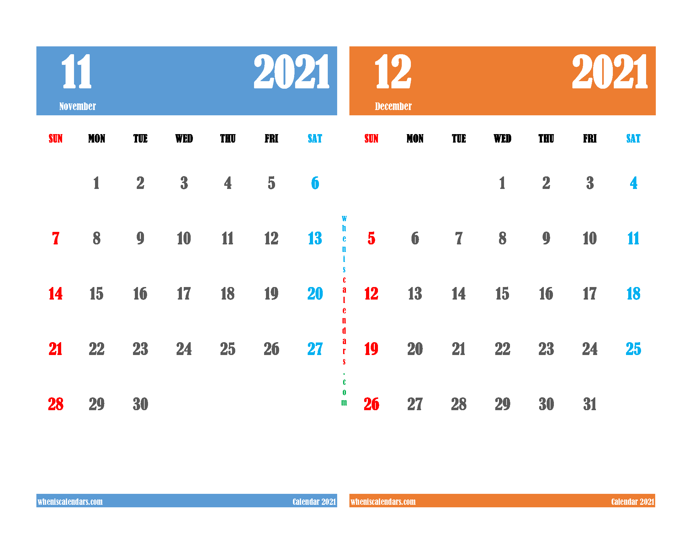 free printable november and december 2021 calendar two month on one page