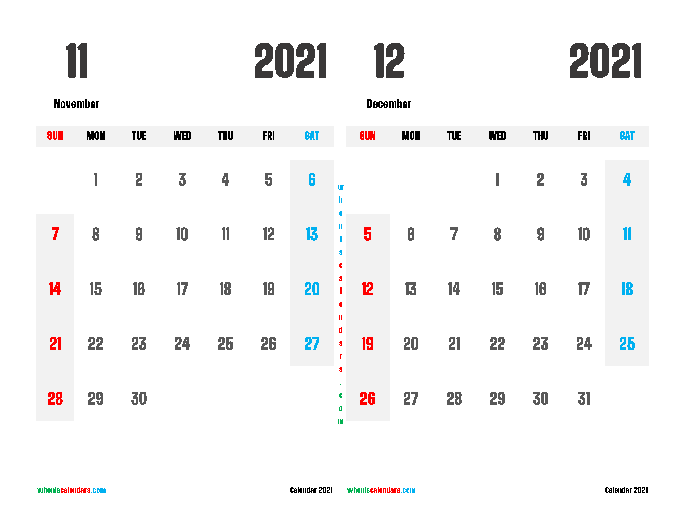 printable november and december 2021 calendar 2 month on one page