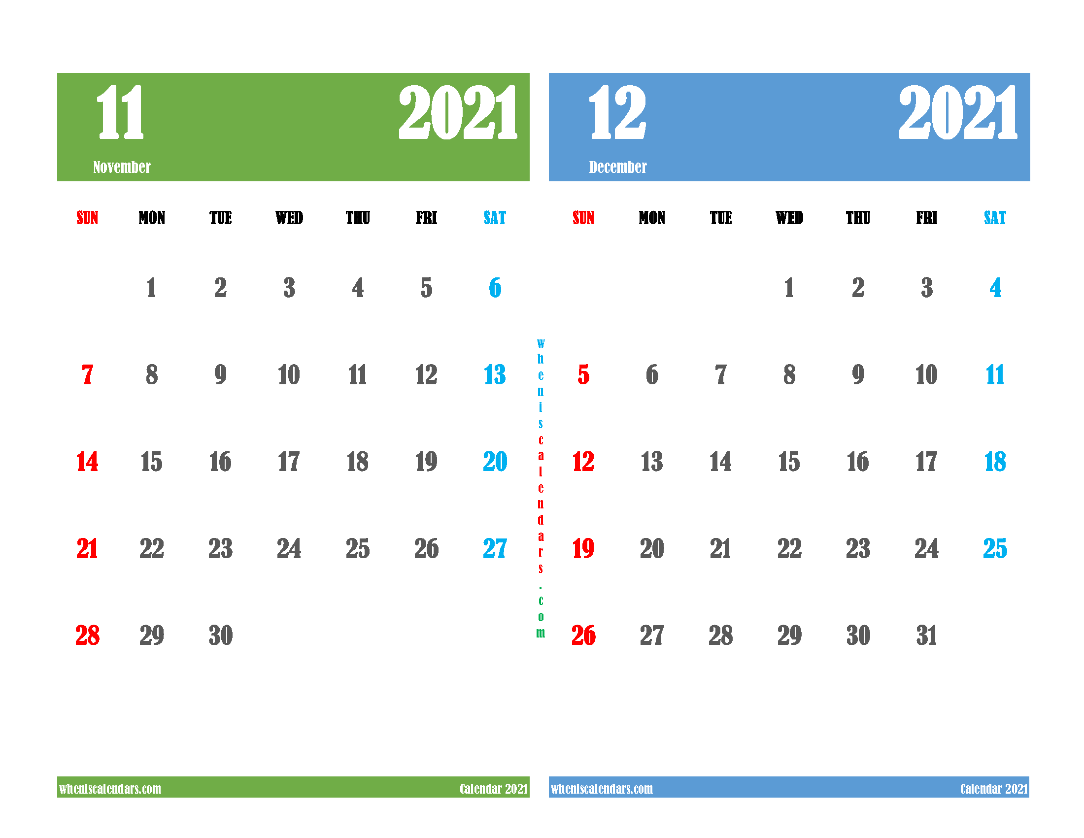free printable november december 2021 calendar two month on one page