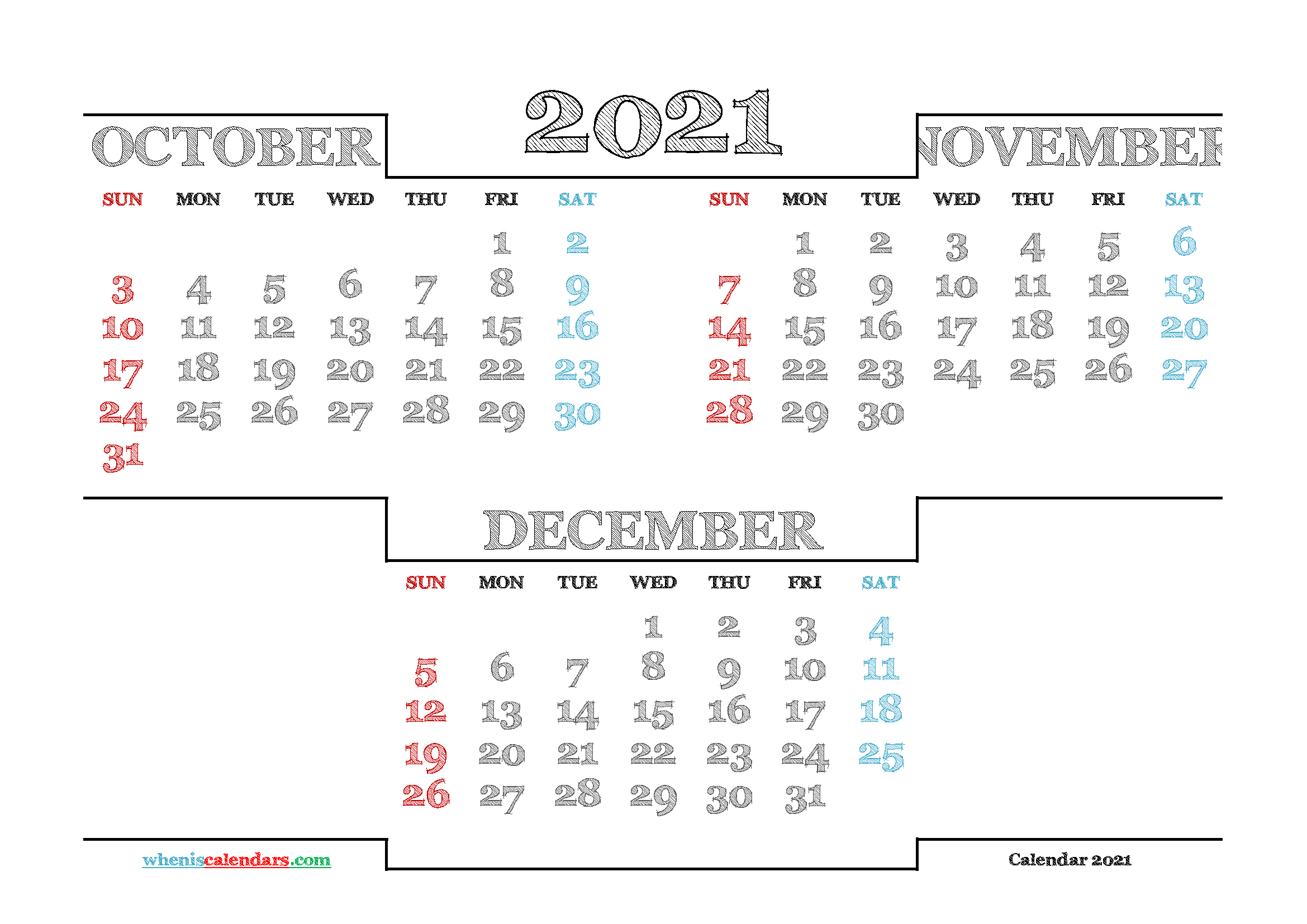 October November December 2021 Calendar printable 3 month calendar on one page