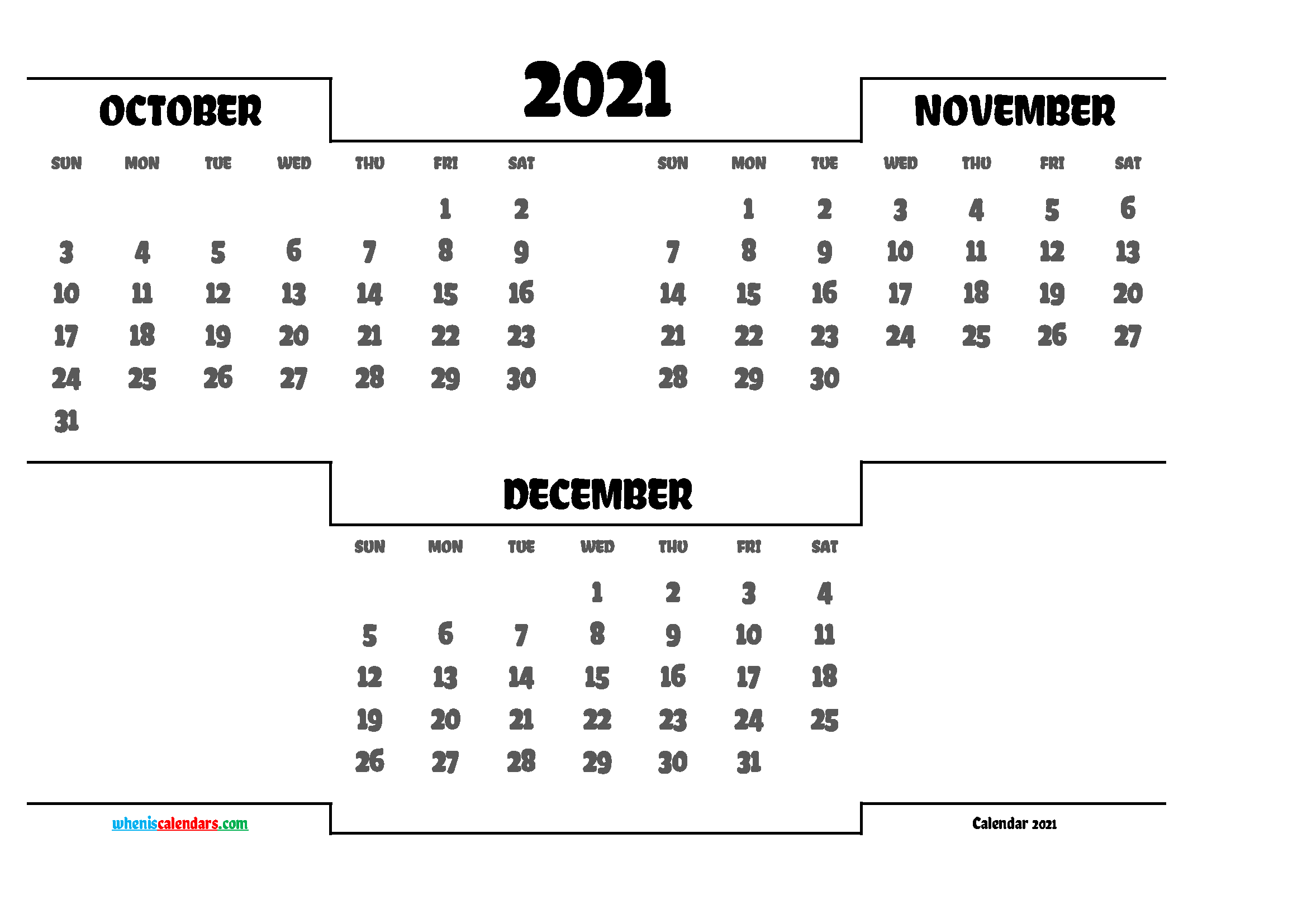 October November December 2021 Calendar printable 3 month calendar on one page