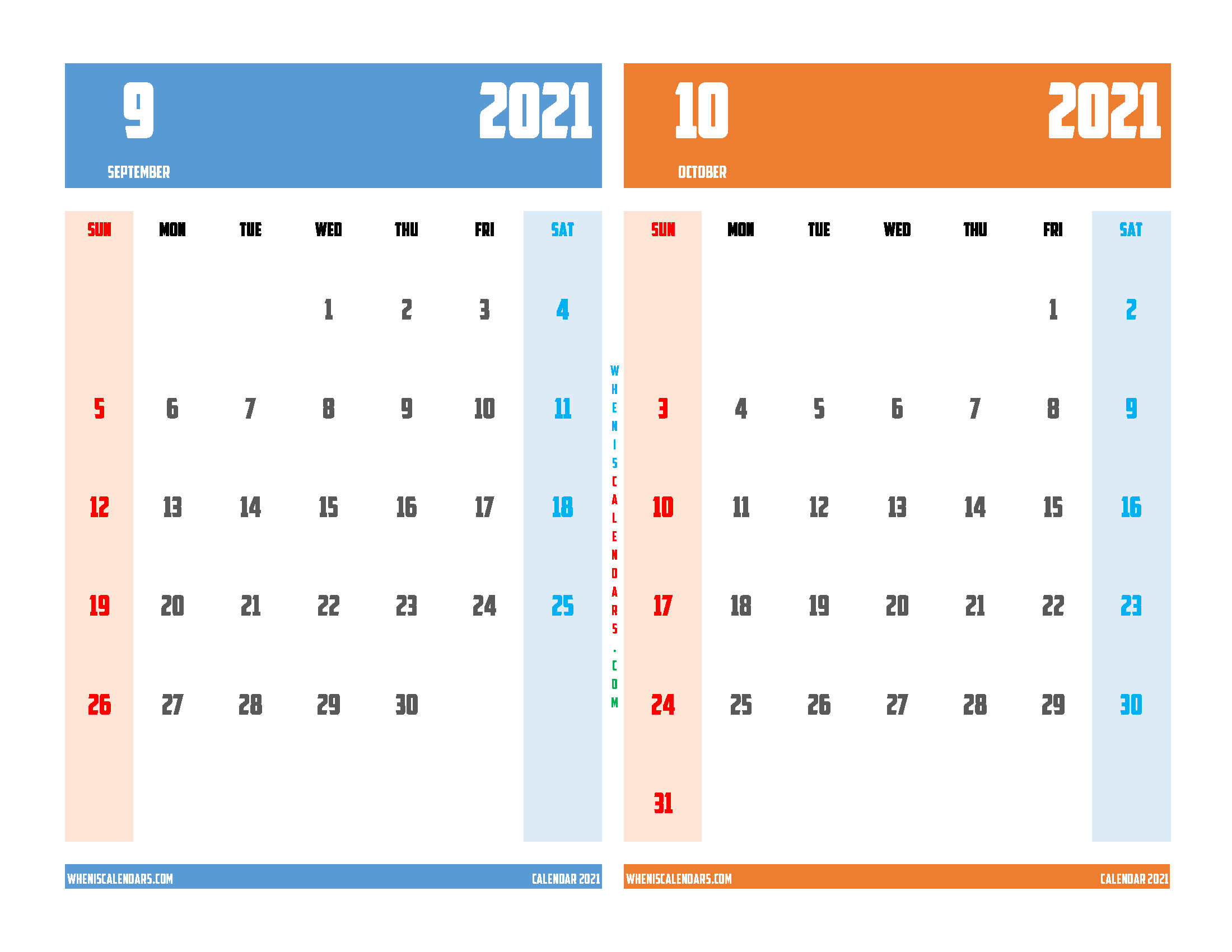 free printable september and october 2021 calendar two month on one page