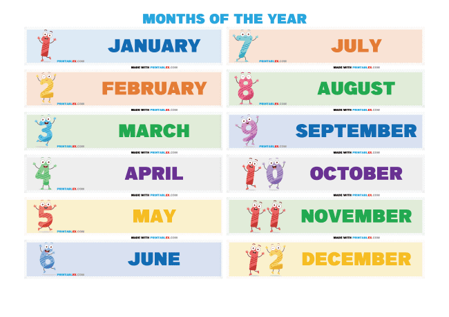 Free Printable Months of the Year Worksheets as PDF and high quality image file format