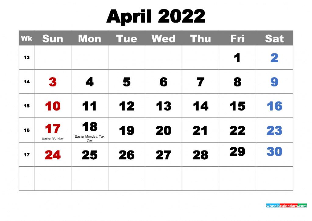 Free April 2022 Calendar with Holidays Printable PDF and Image
