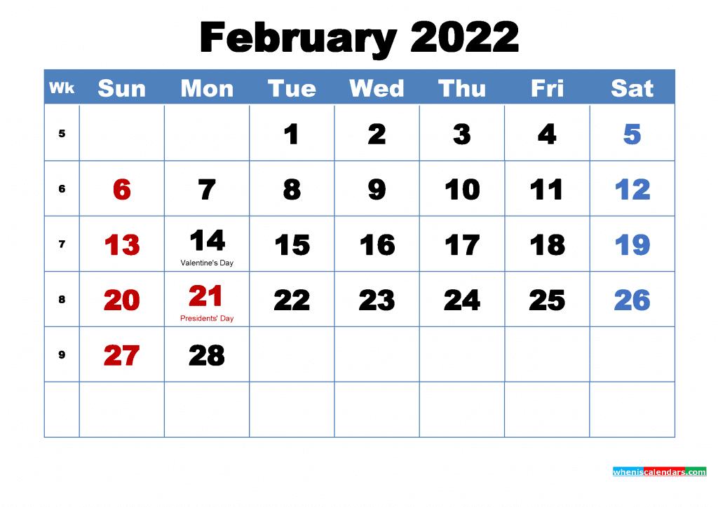 Free February 2022 Calendar with Holidays Printable PDF and Image
