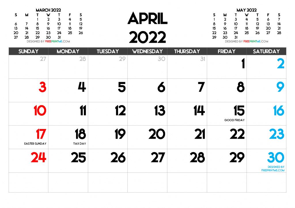 Free Printable April 2022 Calendar PDF PNG Image