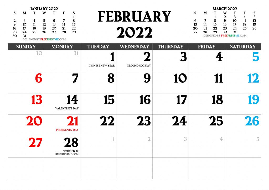 Free Calendar for February 2022 and Full Moon February 2022