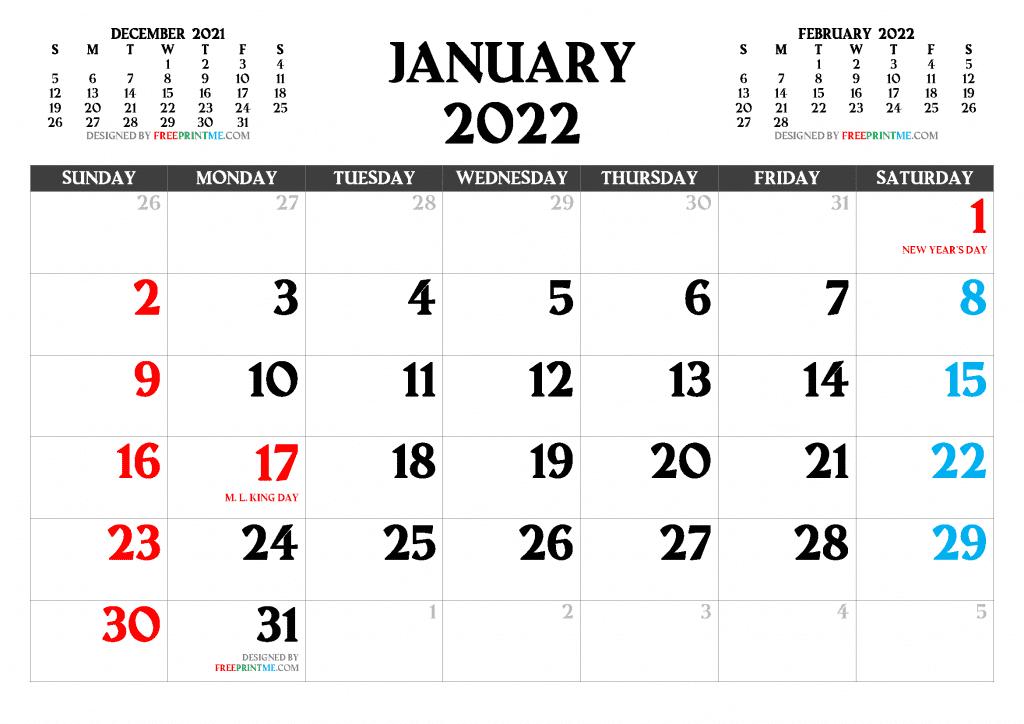 Free Printable January 2022 Calendar with Holidays as PDF PNG Image