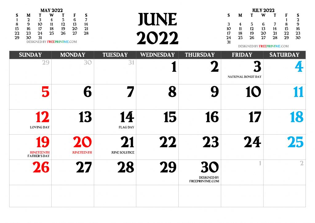 Free Printable June 2022 Calendar PDF PNG Image