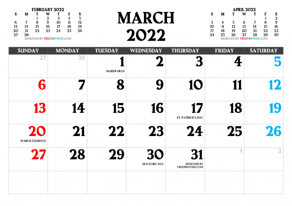 Free Printable March 2022 Calendar with Holidays PDF and PNG Image