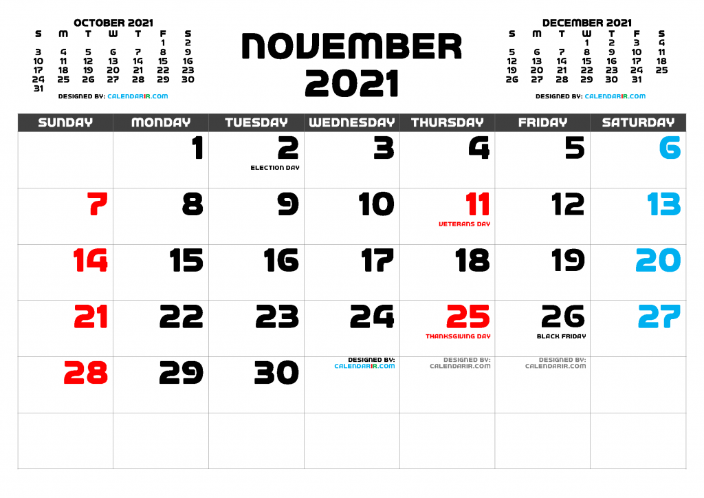 Free Printable November 2021 Calendar with Holidays as PDF and high resolutions PNG Image