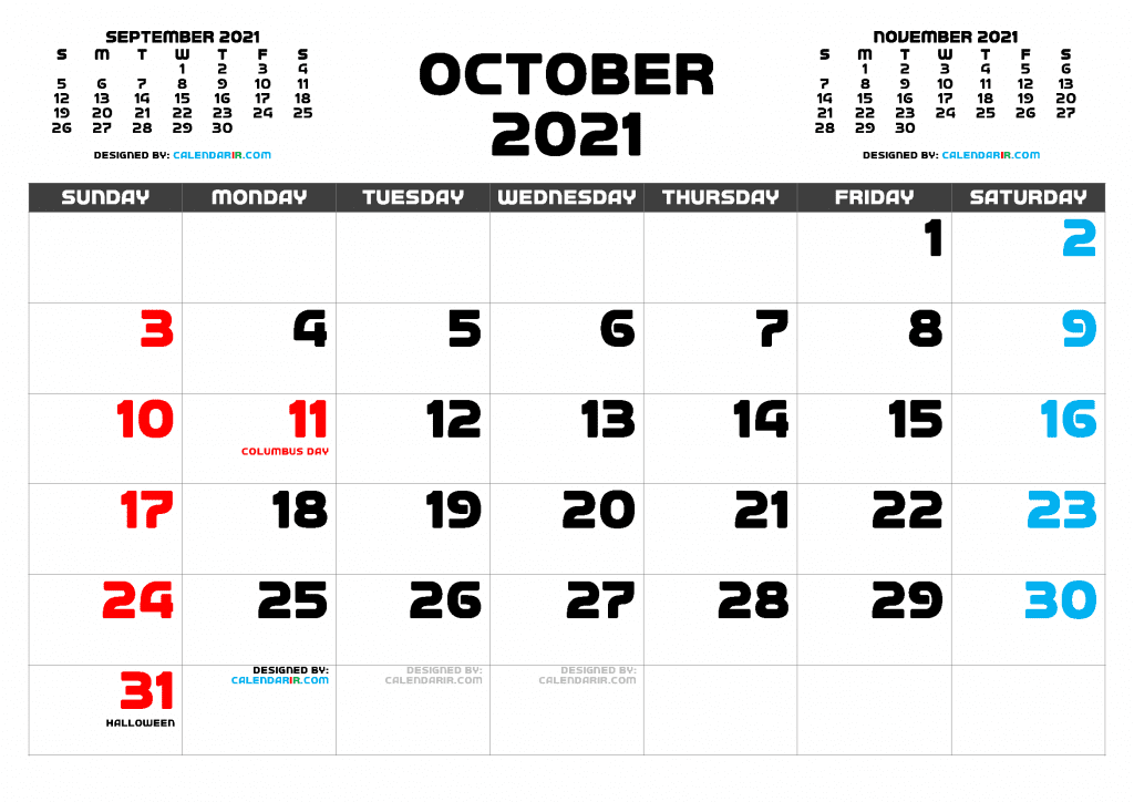 Free Printable October 2021 Calendar with Holidays as PDF and high resolutions PNG Image