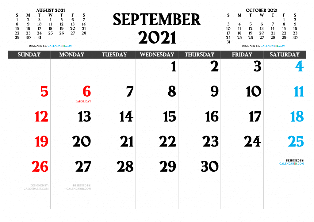 Free Printable September 2021 Calendar with Holidays as PDF and high resolutions PNG Image
