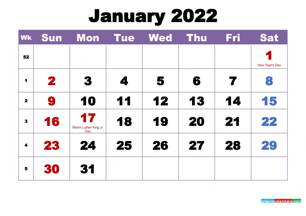 Free January 2022 Calendar with Holidays Printable PDF and Image