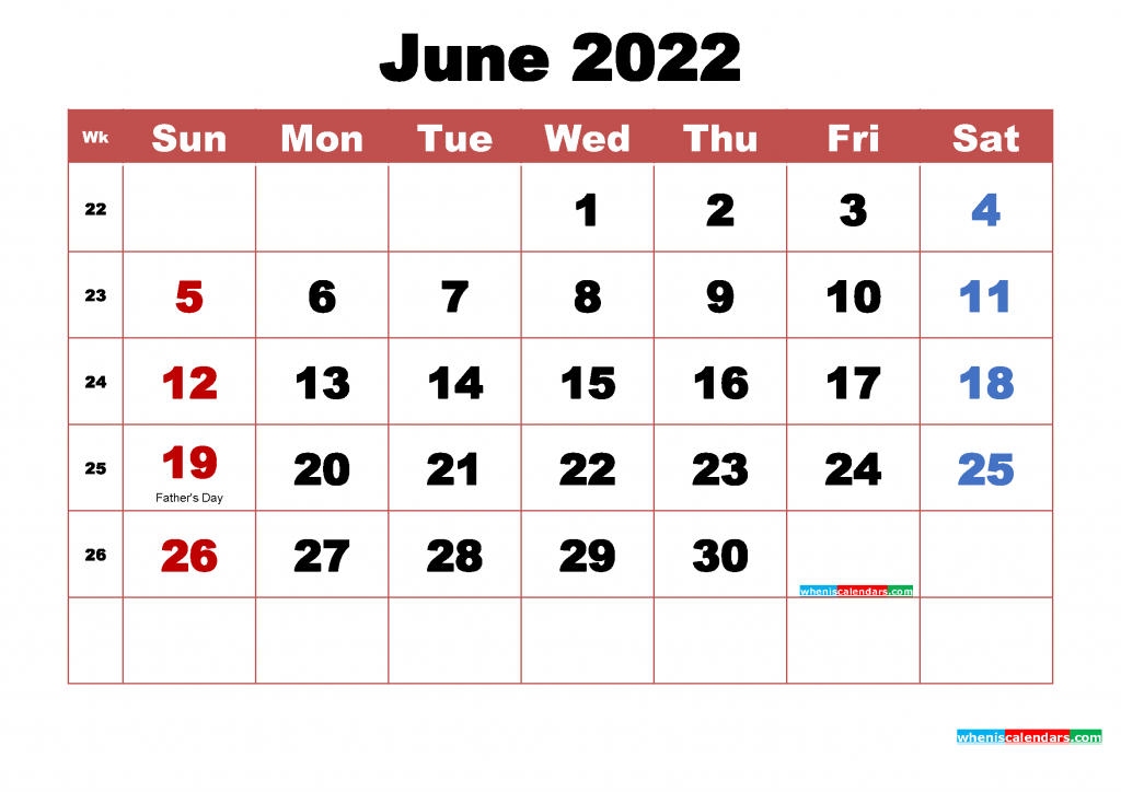 Free June 2022 Calendar with Holidays Printable PDF and Image