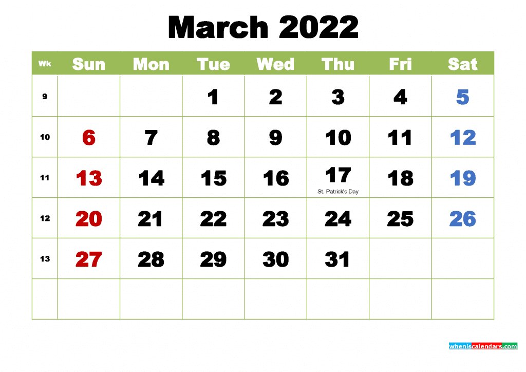 Free March 2022 Calendar with Holidays Printable PDf and Image