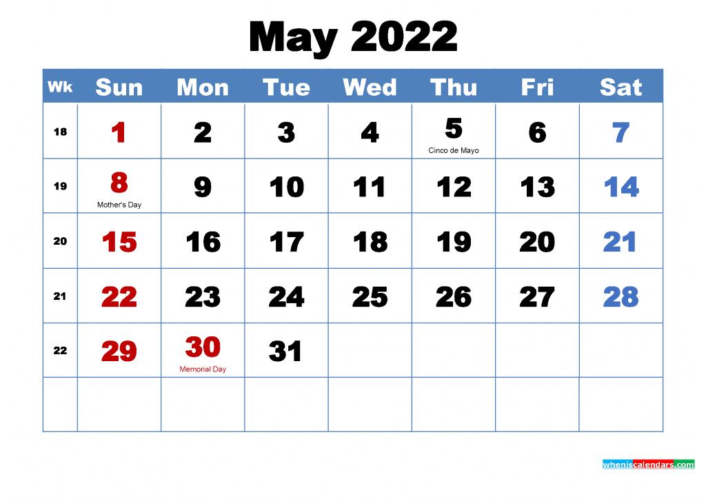 Free May 2022 Calendar with Holidays Printable PDF and Image